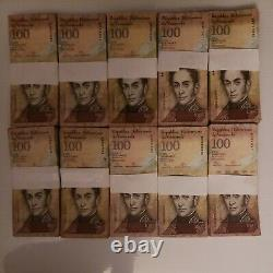 2007-2015 Venezuela 100 Bolivares BRICK 1000 Pcs. G, F, VF, XF USED 10 Bundles a
