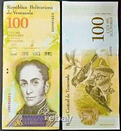 2017 Venezuela 100,000 Bolivares 1000 Pcs Brick Bundle Wild Life Series UNC