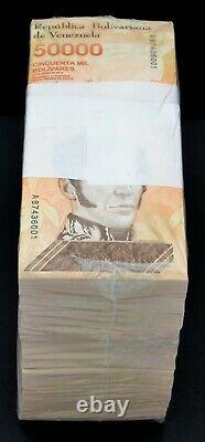 2019 Venezuela $50,000 Bolivares New UNC 1 Brick 1,000 Pcs Ultra Rare Banknotes