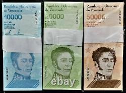 3 Bundles (300 Pcs) Banknotes 10000,20000 & 50000 Bolivares 2019 Venezuela Unc