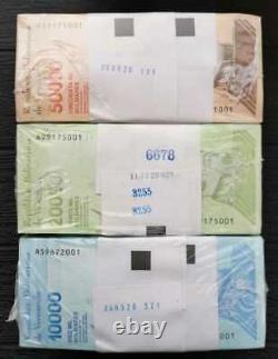 3 Packs(300)PCS 10000,20000& 50000 Bolivares Serial Big 2019 Venezuela UNC JJL17