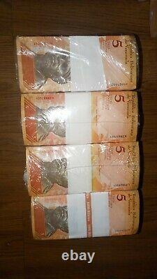 4 Brick 5bsf 1,000 Banknotes Bolivares Fuertes Unc Venezuela Total 4,000 Pieces