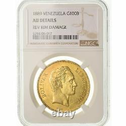 #489356 Coin, Venezuela, 100 Bolivares, 1889, Caracas, NGC, AU Details, Gold