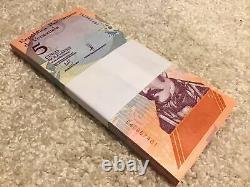 500 Banknotes. 5 Venezuela Banknote Bundles. 100 X 2,5,10,20,50 Bolivares. 2018