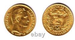 A VENEZUELA 1911 GEM BU 20 GOLD BOLIVARES Simon Bolivar-Coat of Arms. 1867 agw