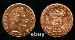 A VENEZUELA 1912 GEM BU 20 GOLD BOLIVARES Simon Bolivar-Coat of Arms. 1867 agw