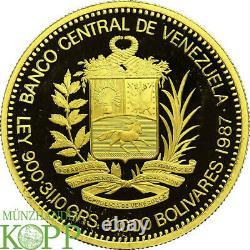 AB2420 Venezuela, Republik 10000 Bolivares 1987 Zu Ehren von Simón Bolívar 1 Oz