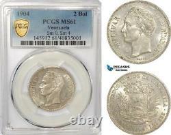 AG332, Venezuela, 2 Bolivares 1904, Paris, Silver, Sm. 0, Sm. 4, PCGS MS61, Pop