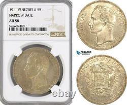 AG442, Venezuela, 5 Bolivares 1911, Paris, Silver, Narrow Date NGC AU58