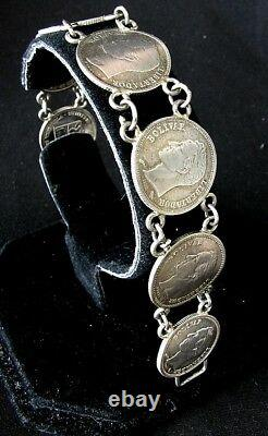 Antique Silver Coin Bracelet Venezuela Simon Bolivar 1945-1960