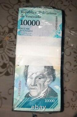 BRICK OF BANKNOTES OF 10,000 BsF. TEN THOUSAND BOLIVARES FUERTES UNC VENEZUELA