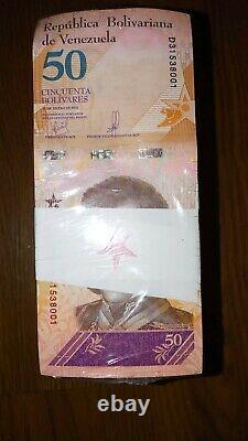 BRICK replacement 1,000 banknotes 50 Bolivares star note VENEZUELA UNC rare