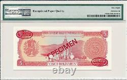 Banco Central Venezuela 5 Bolivares 1989 Specimen PMG 68EPQ