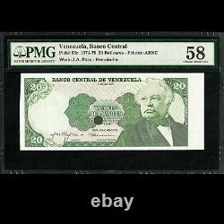 Banco Central de Venezuela 20 Bolivares 1974-79 REMAINDER PMG 58 About UNC P-53r