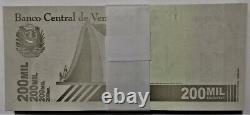 Bundle 100 Pcs Banknote 200.000 Bolivares September 03. 2020 Venezuela Unc