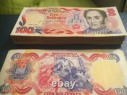 Commemorative 1980 Bundle 100 Pcs Venezuela Banknote 100 Bolivares Unc
