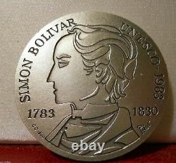 FRENCH 41mm SILVER ART MEDAL UNESCO SIMON BOLIVAR VENEZUELA DOVE PEACE
