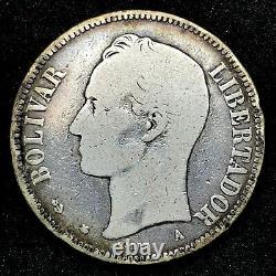 Key Date 1876 A VENEZUELA 5 BOLIVARES (25 GRAM). 900 Silver Coin Y#16 Scares