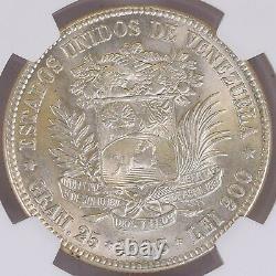 NGC Venezuela 1935 5 Bolivares Libertador Barre Lg Silver Coin Mint Lustre MS63