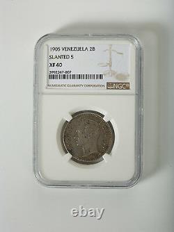 NGC Venezuela Gram 10 2 Bolivares 1905 SLANT 5 rare date Scarce coin Km Y23