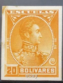 O 1882 VENEZUELA, DIE PROOF, EFFIGY SIMON BOLIVAR ESCUELAS 20 bolivares oran