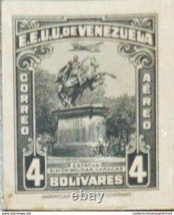 O 1940 VENEZUELA, DIE PROOF, STATUE OF SIMON BOLIVAR, SC C161 4 bolivares, XF