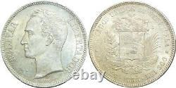 O25 Very Rare VENEZUELA 5 Bolivares 1888 Paris Silver PCGS AU58