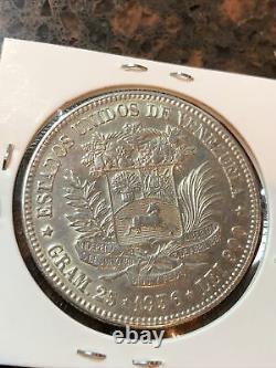 SASA Unc 1936 Venezuela 5 Bolivares Silver Foreign Coin