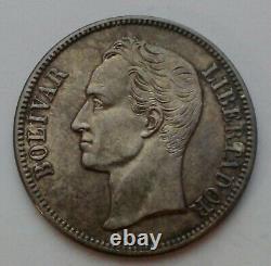 SCC Venezuela 5 Bolivares 25 GRAM 1935 p. Y#24.2. Silver Crown Dollar Peso coin