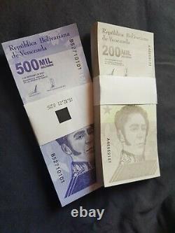 SET ORIGINAL Bundle VENEZUELA 200000 / 500000 Bolivares Notes UNC 2020 200PCS