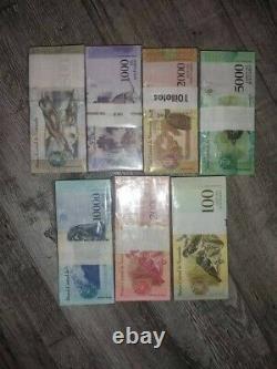 Set of 7 bundle Banknote Bolivares Fuertes Venezuela UNC uncirculated