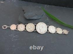 Silber Armband Münzen Venezuela Tracht 1929 1935 1945 1954 Bolivar Libertador