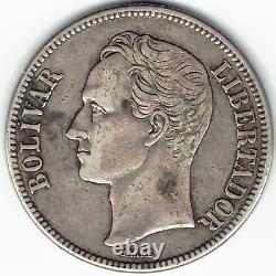 Silver Coin 1929 Venezuela Fuerte Libertador 5 Bolivares XF Y#24.2 Dollar