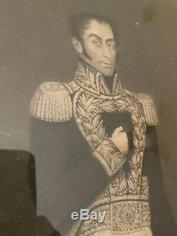 Simon Bolivar Original Lithograph 1827 Venezuela Printed In London, England