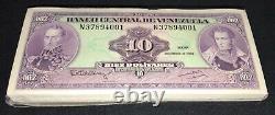 VENEZUELA 10 bolivares x 100 Pcs Bundle, 1992 N8 Unc