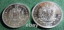 VENEZUELA 1975 Sterling silver 25 & 50 Bolivares Wildlife set BU in capsules