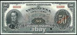 VENEZUELA ND Pick 33sVar- 1940 50 BOLIVARES SPECIMEN EEUU de Venezuela