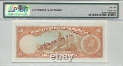 VENEZUELA PICK 47s 1964-72 50 BOLIVARES SPECIMEN PMG 66EPQ
