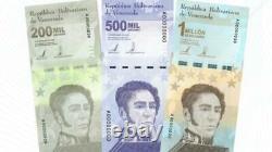 VENEZUELA SET BUNDLE 200000 / 500000 / 1 Million Bolivares UNC 2021 total 300pcs