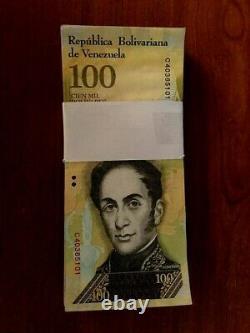 Venezuela 100,000 100000 Bolivares X 100 Pcs Bundle 2016/2017 Prefix Varies USED