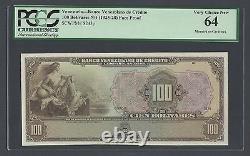 Venezuela 100 Bolivares 1925 PS243p Essay Proof Unique Uncirculated