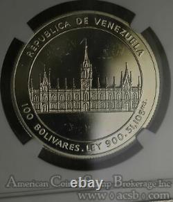 Venezuela 100 Bolivares 1986 PR63 UCAM NGC silver KM#60 RARE SMALL 500 MINTAGE