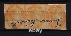 Venezuela 1871 Scott 023+23A, strip of 3, special center, used ink, EBV444
