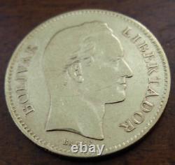 Venezuela 1880 Gold 20 Bolivares XF Bolivar