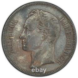 Venezuela 1886 5 Bolivares 25 Gram Silver Coin PCGS XF KM-Y#24.1 Nicely Toned