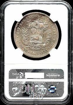 Venezuela 1886 5 bolivares 25 GRAM Rare SILVER COINE- XF NGC # MA S-6