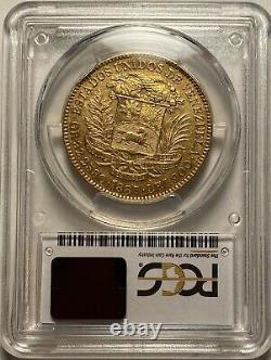Venezuela 1887 Gold 100 Bolivares Coin. 9334 Agw Pcgs Au50