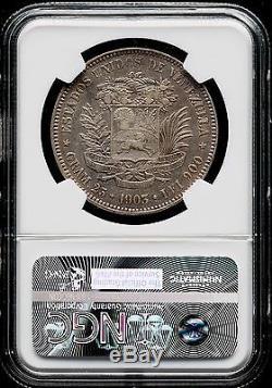 Venezuela 1903 5 bolivares 25 GRAM Rare SILVER COINE- XF-45 NGC # MA S-11