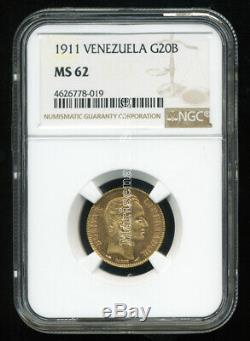 Venezuela 1911 Gold Coin 20 Bolivares Ngc Certified Genuine Ms 62 VIVID