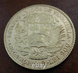 Venezuela 1912 Gold 20 Bolivares AU Bolivar